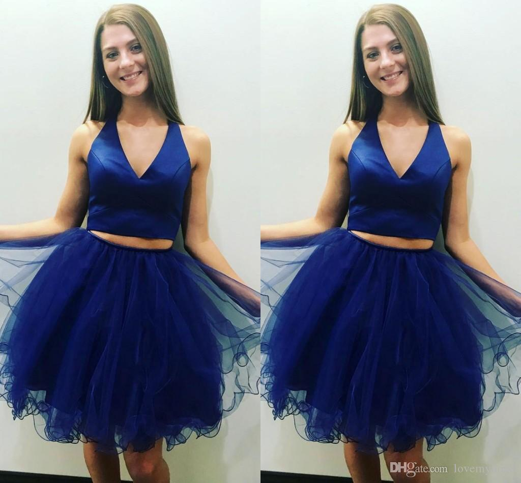 d05c6b8dfaaf Royal Blue Prom Dresses Graduation Girls V Neck Tulle Ball Gown Piping  Cheap Homecoming Dress Short Prom Dress Gowns For Sweet 15 Topshop  Graduation Dresses ...