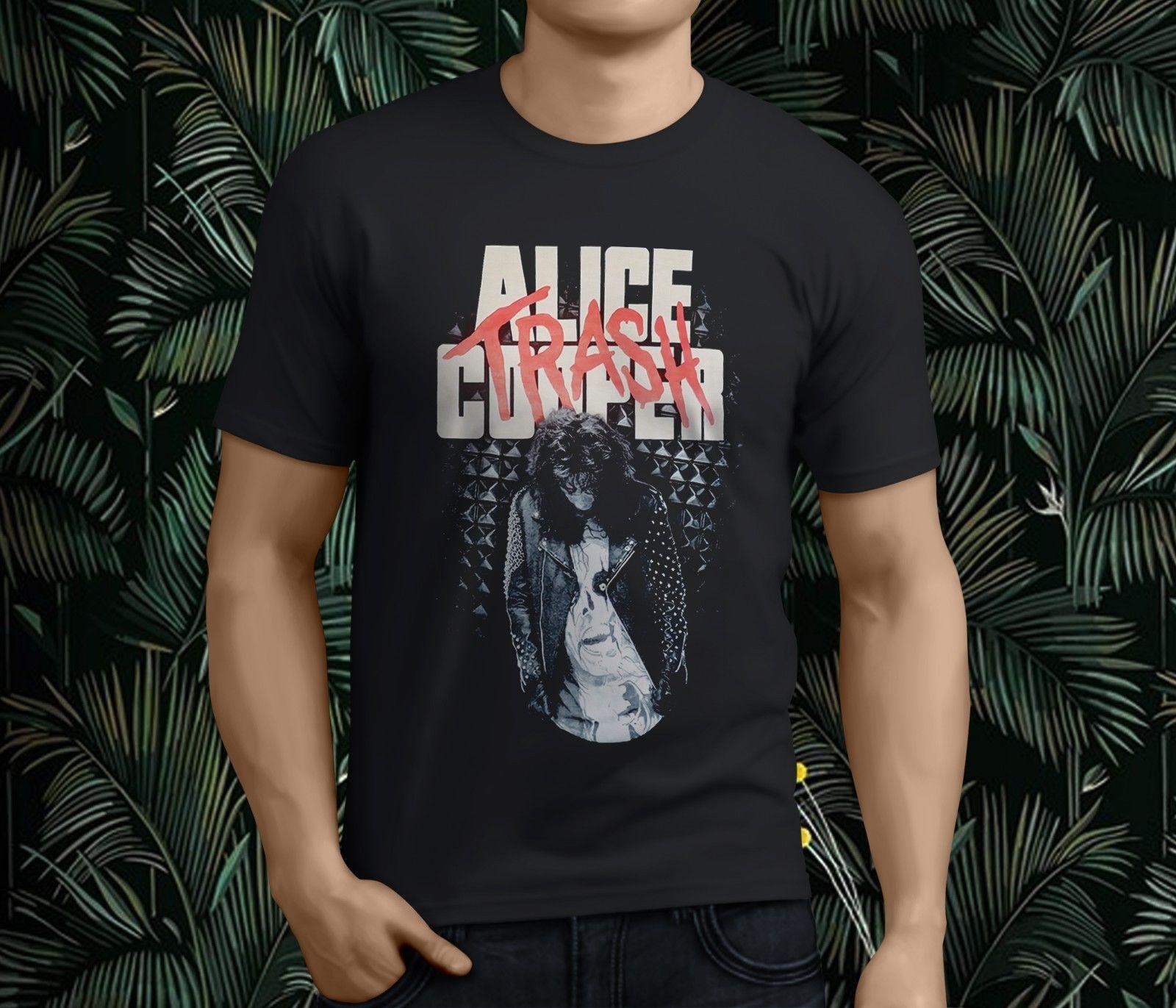 5725f237 New Popular ALICE COOPER TRASH ALBUM ROCK BAND Men's Black T-Shirt S-3XL