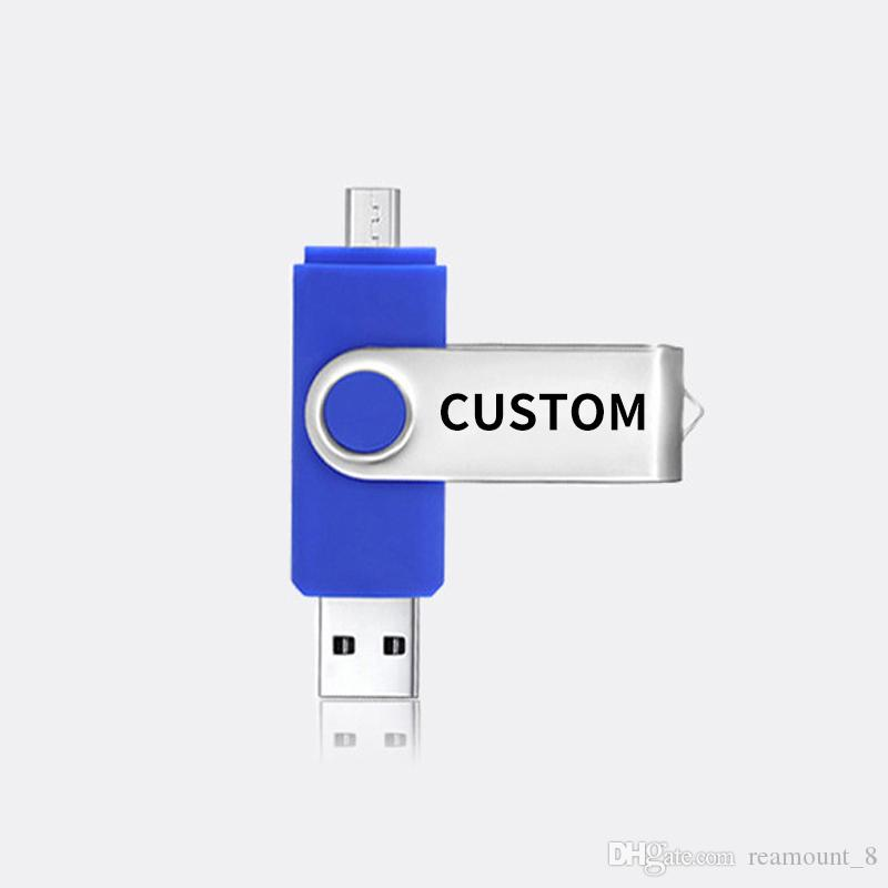 Personalized USB 2.0 custom 8G/16G/32G/64G/128G OTG USB Flash Drives USB Memory Storage Drive for Android/iOS and Computers