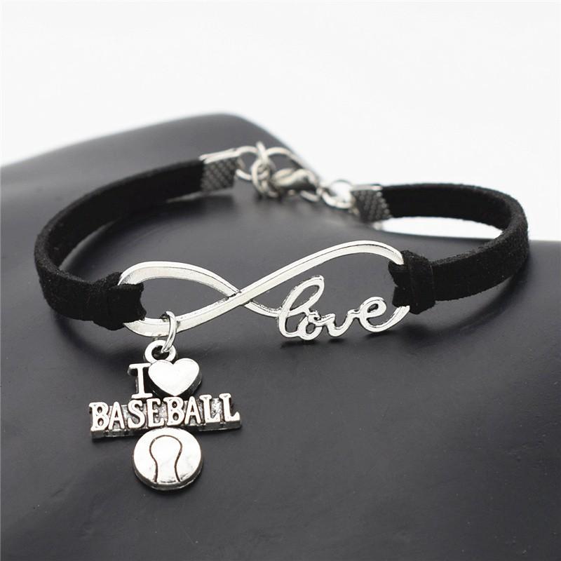 f9f7db90a4f7 Nueva moda Infinito Amor I Corazón Voleibol Fútbol Baloncesto Béisbol  Fútbol Deporte Accesorios Negro Cuero Gamuza Pulsera Brazaletes Regalo