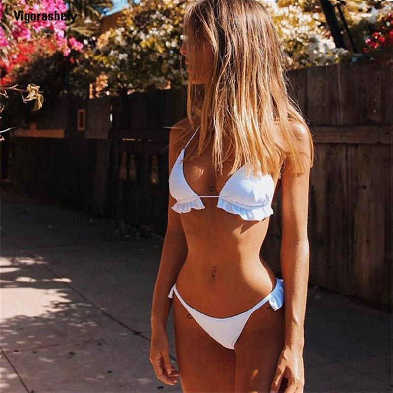 fd4769ddab 2019 Sexy White Ruffle Bikini 2019 String Thong Swimsuit Women Push ...