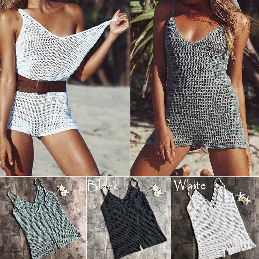 ba8d116ec3b3e 2019 Women Summer Sexy Sleeveless V-Neck Solid Crochet Beachwear Cover up  Beach Playsuits Bodysuits
