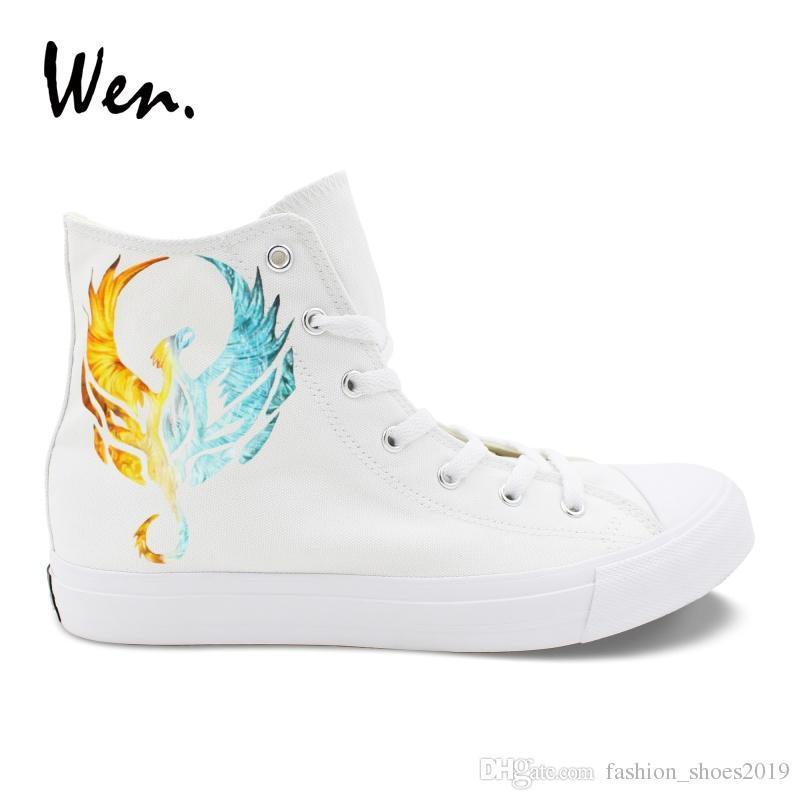 6730e985b3 Wen Moda Beyaz Tuval Ayakkabı Sneakers Tasarım Yangın Buzlu Phoenix El  Boyalı Ayakkabı Erkek Kadın Yüksek Üst Plimsolls Bağcık Düz # 260002