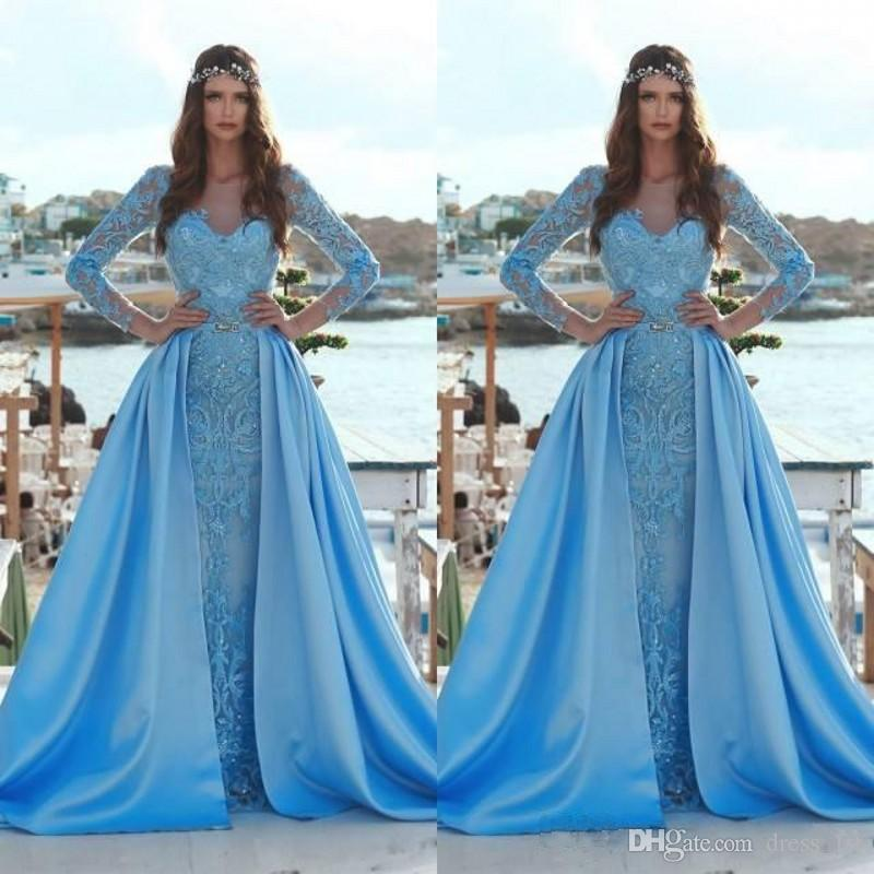 2019 Fairy Mermaid Vestidos de noche con tren desmontable Sheer Neck Crystal Beaded Lace Mangas largas Azul cielo Compromiso Vestido Formal