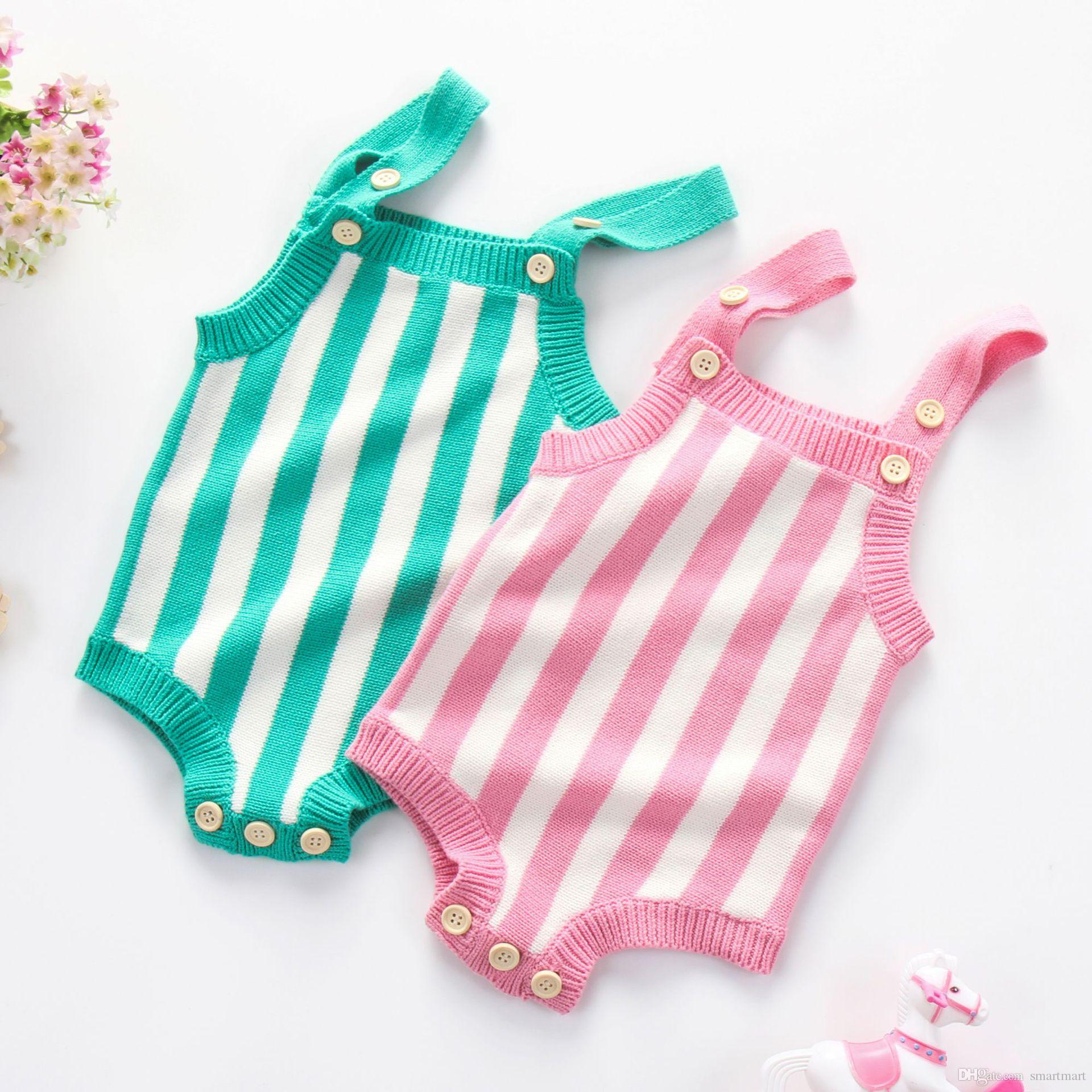 40e952a4a9eb 2019 Everweekend Ins Toddler Baby Girls Stripes Knitted Sweater Rompers  Candy Color Halter Spring Autumn Cute Infant Kids Clothes From Smartmart