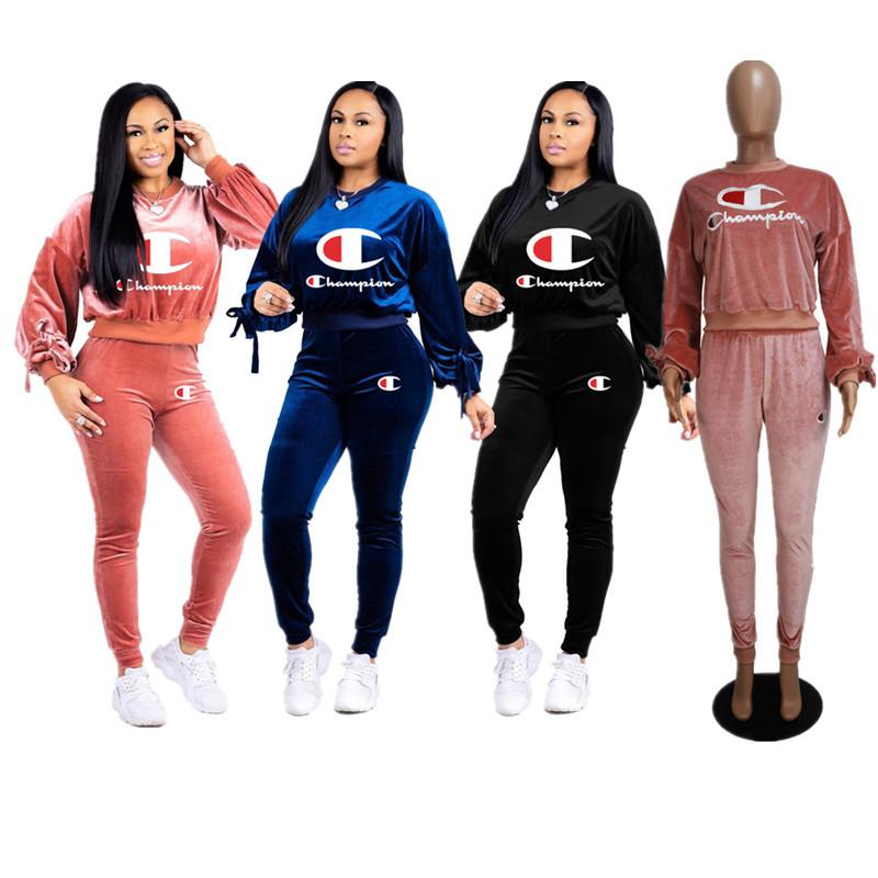 Brand Champion Women Designer Tracksuits Autumn Hoodies + Pants Velvet Outfit Pullover Top Velour 2 piece Set Sweatsuit Sportswear S-2xC8204