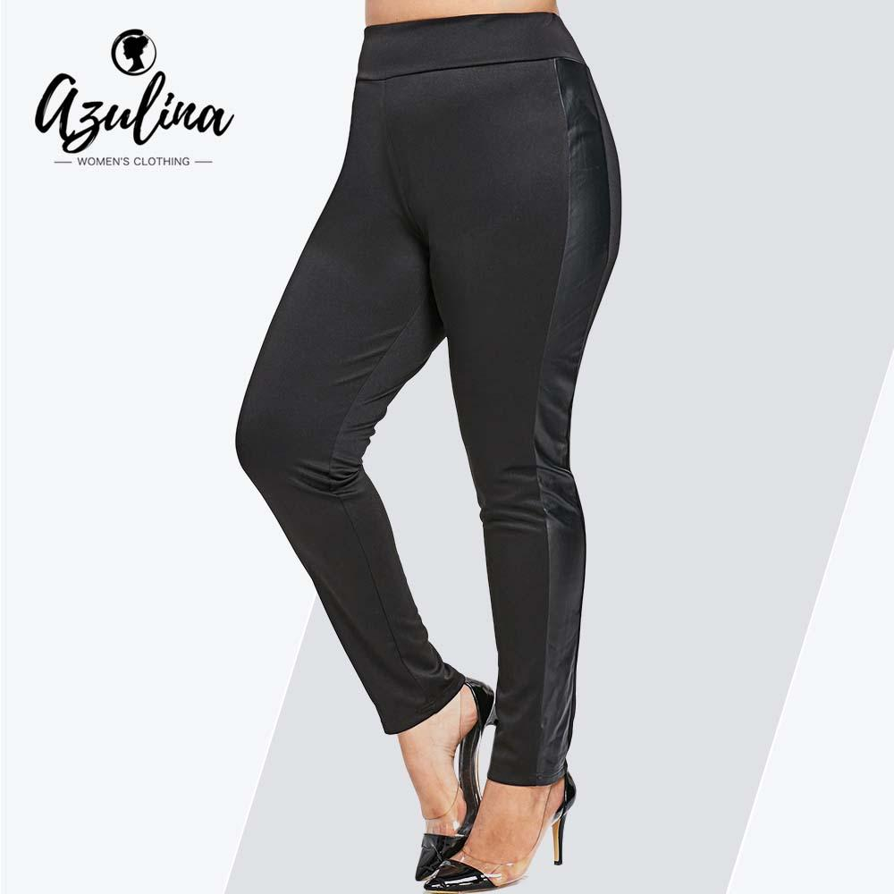 4a07f7ca6640a 2019 AZULINA Plus Size PU Leggings Faux Leather Skinny High Elastic Waist  Black Pencil Pants Female Sexy Leggings New Casual Trousers From Carawayo,  ...