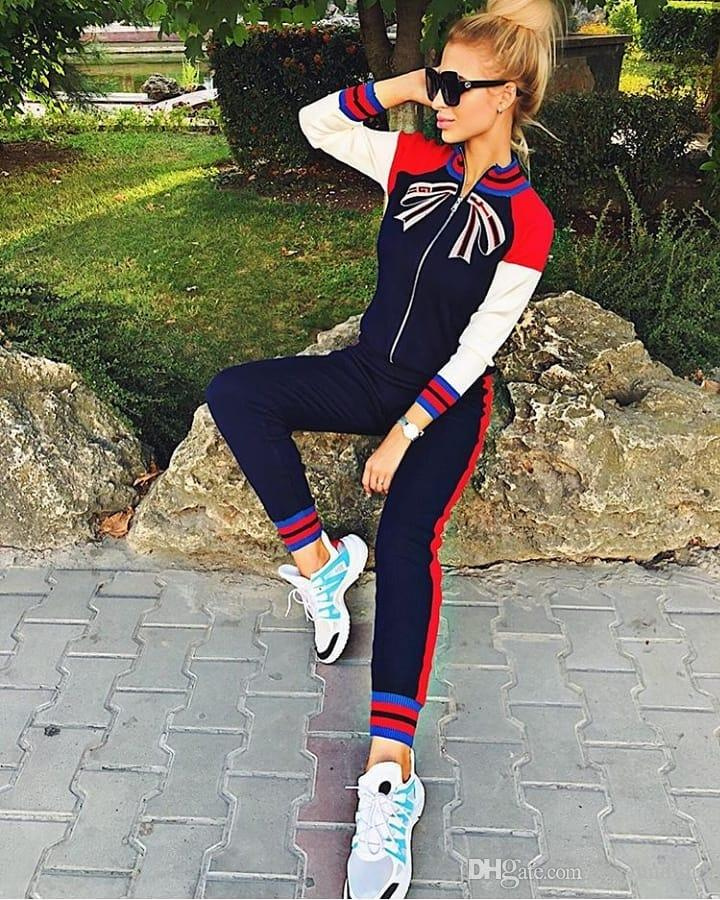 f84f17deea8 2019 2019 Womens Casual Fashion Autumn Spring Long Sleeved Two Piece Jogger  Set Ladies Fall Tracksuit Sweat Suits Black Red Plus Size S XL From  Mayundidi3