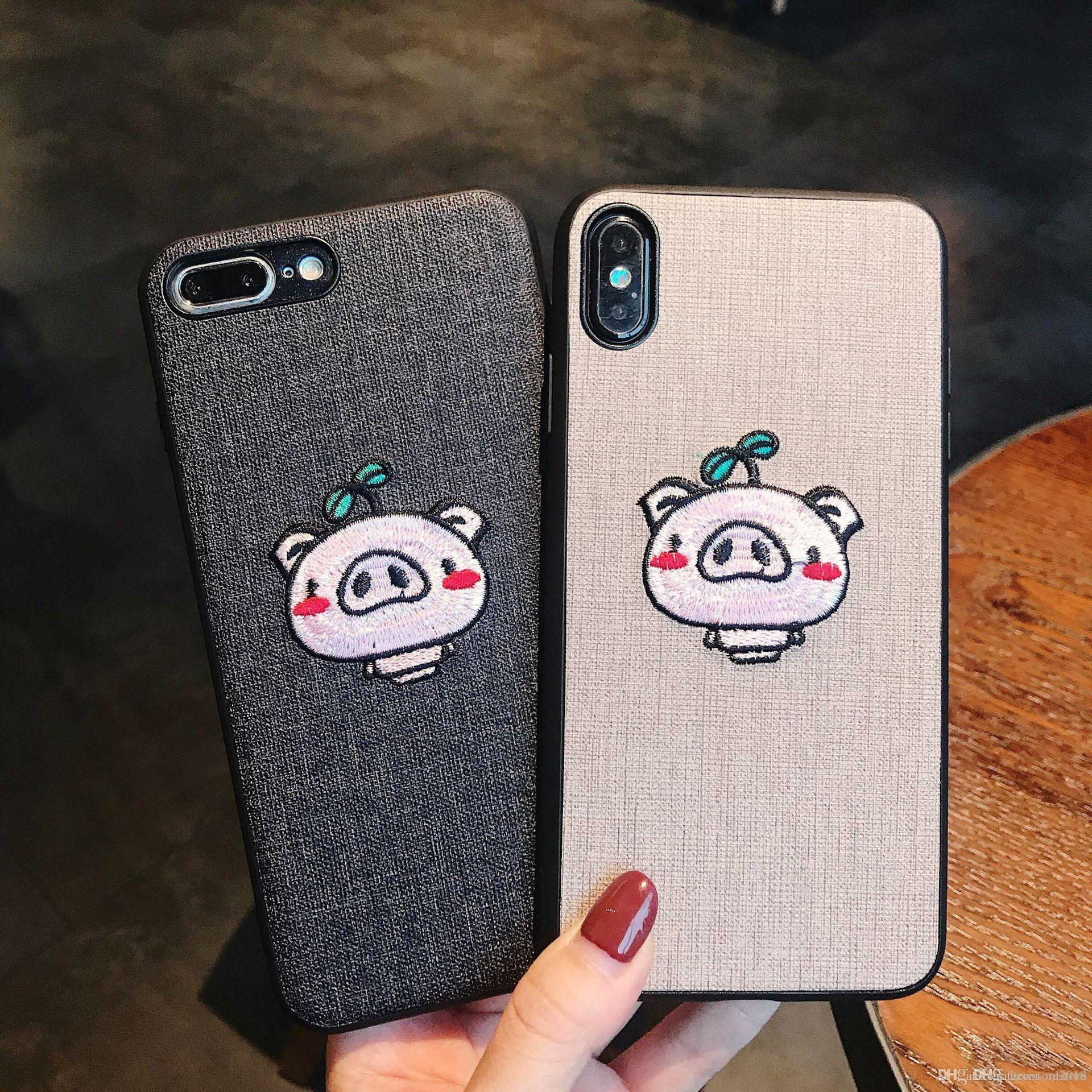 reputable site ef5ea a97d2 Lovers cute phone case for iphoneXs Max soft Embroidery pig animal case  covers Anti fall phone cases for IPhone7PLus/8Plus for IPhone Xr