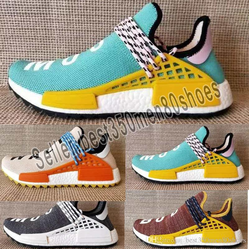 the best attitude 3e477 02f2f 2019 Human Race NMD Running Shoes Pharrell Williams Hu trail Oreo Nobel ink  Black Nerd Designer Sneakers Men Women Sport Shoes