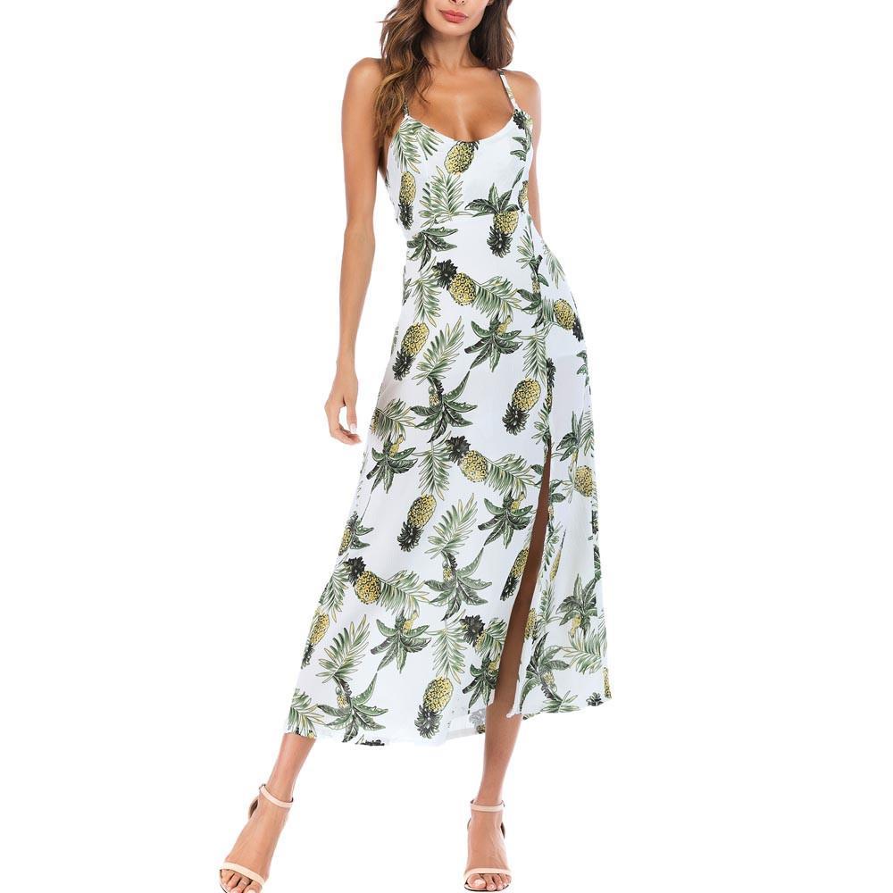 Summer Dress 2019 Long Maxi Beach Summer Dresses Womens Plus Size Pineapple  Long Boho Dress Lady Beach Summer Sundrss Maxi Dress Little Black Dresses  One