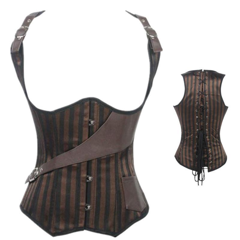 07497db1c5 2019 Womens Brown Steel Boned Stripe Underbust Corset And Bustier Waist  Trainer Body Shaper Vest Top Steampunk Corselet From Runlione