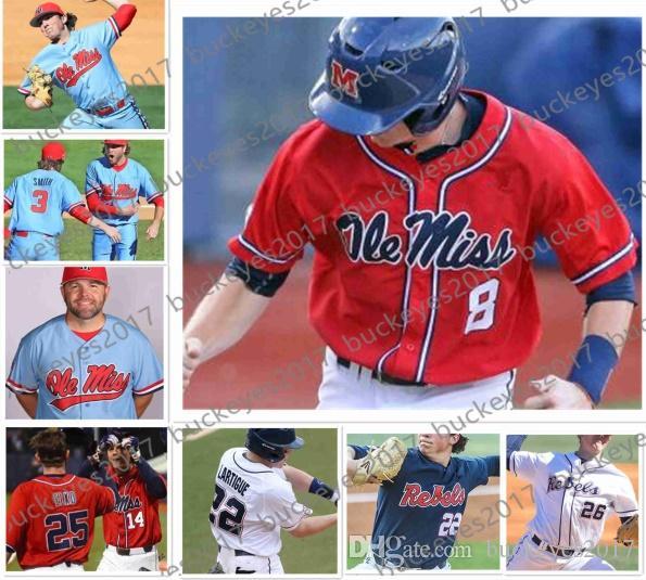 online retailer dee4d f5954 Custom Ole Miss Rebels NCAA Baseball White Red Blue Stitched Any Number  Name Jersey #2 Ryan Olenek 13 Zack Cozart 22 Ryan Rolison