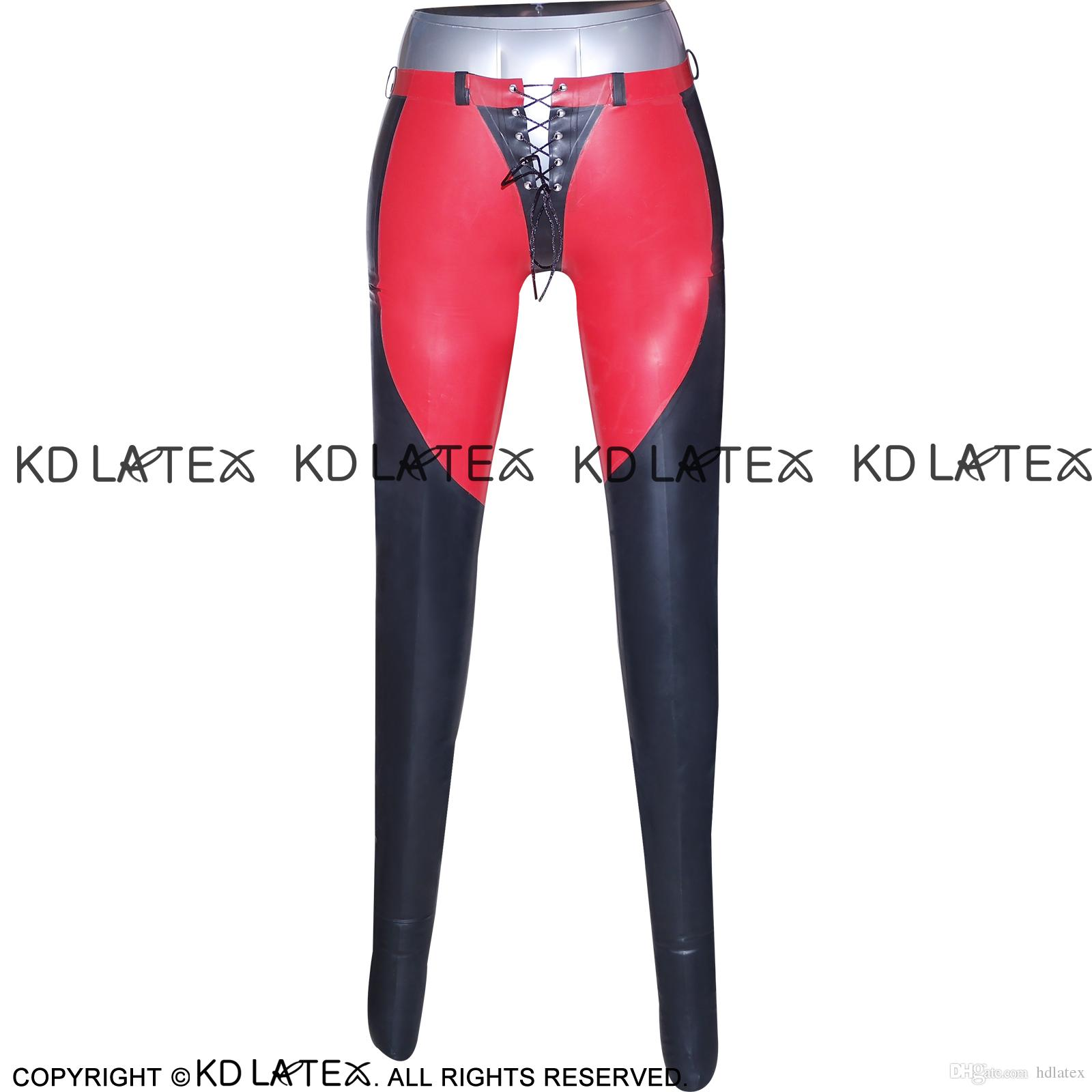 a7b4c3430ea929 2019 Black With Red Trims Sexy Latex Leggings With Lacing Front And Back  Fetish Bondage Rubber Pants Jeans Trousers 0010 From Hdlatex, $87.24 |  DHgate.Com