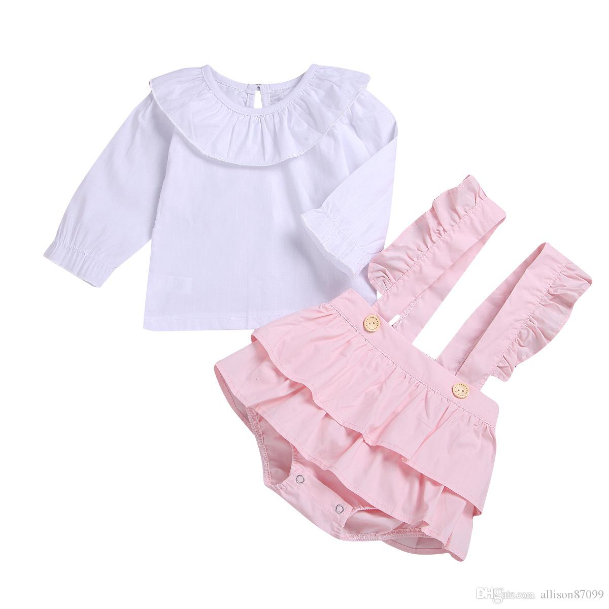 Cute Baby Girl White Cotton Shirt Tops Peter pan collar+Overall Jumpsuit 2pcs set Stars Pink Yellow Hotsale 2019