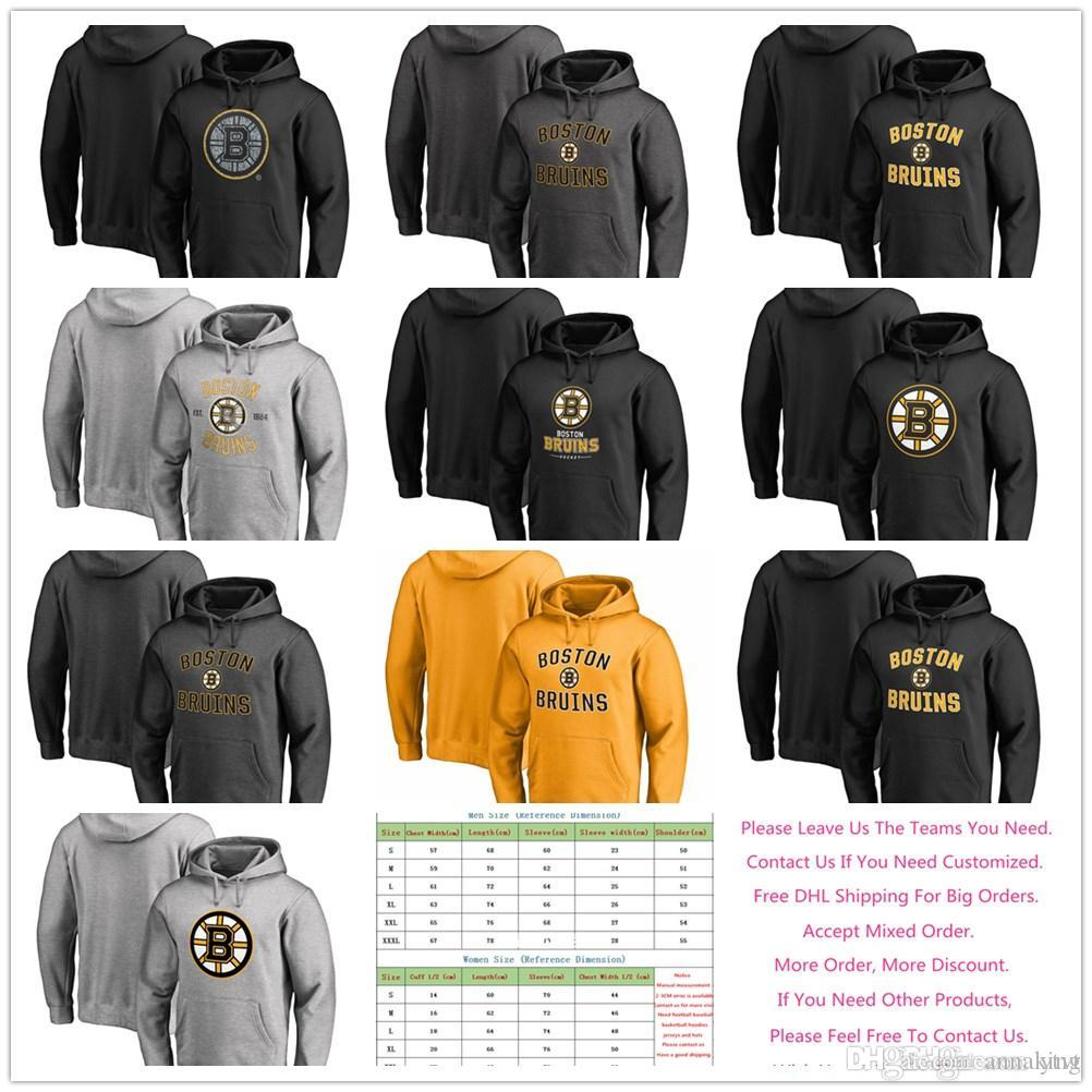 2019 2018 Men S Women Youth Boston Bruins Jersey Primary Logo Static Logo  Team Lockup Heritage Ice Hockey Pullover Hoodies Sweatshirts e47089ee5