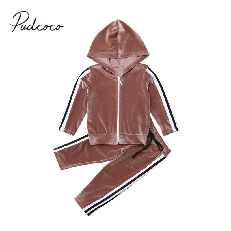 1b3729cb90fa6 2019 Brand New Infant Kids Baby Girl Velvet Outfit Sets Hooded ...