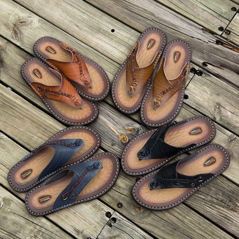2019 Men S Sandals Genuine Leather Men Summer Shoes Leisure Slippers