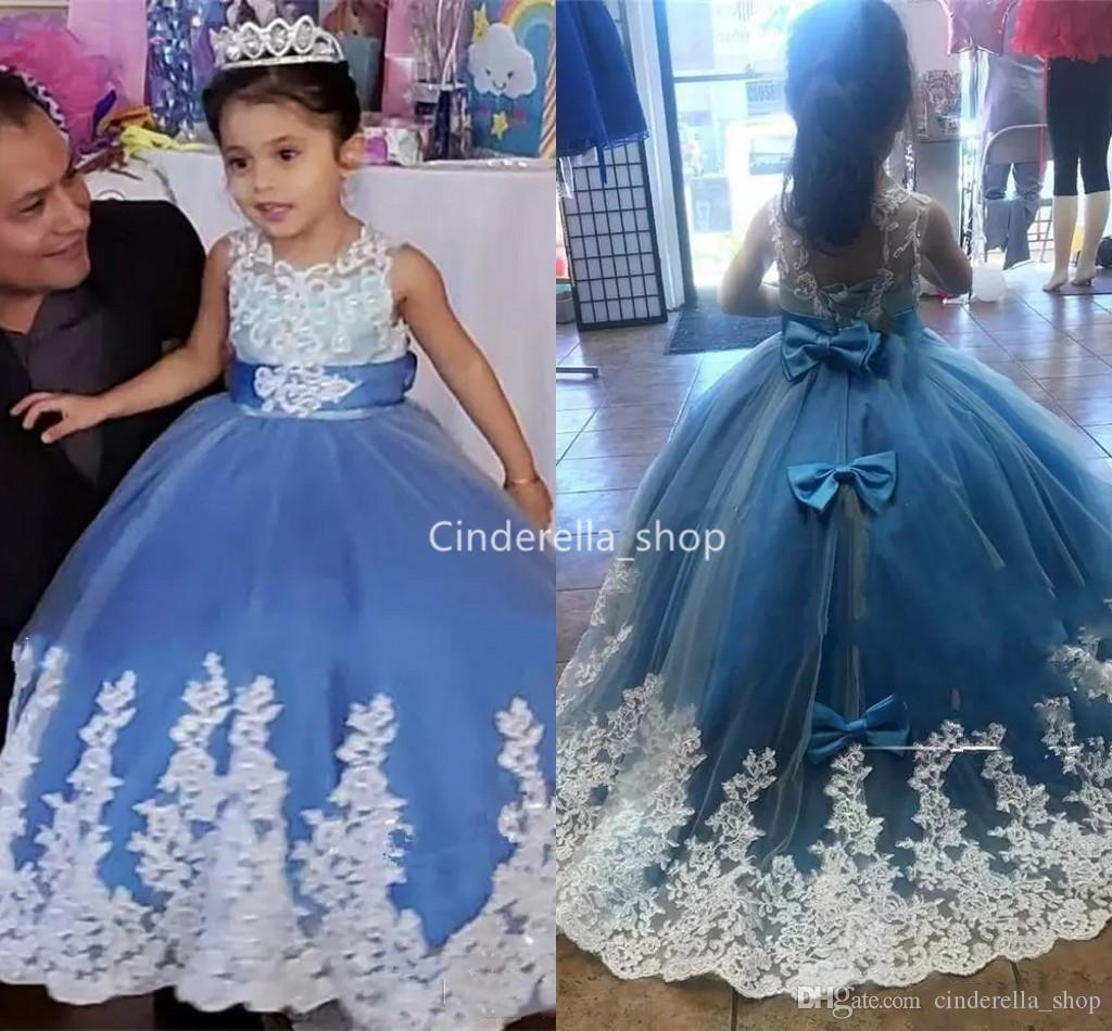 Blue Ball Gowns Flower Girls Dresses For Wedding 2019 Lace Appliques Bow  Kids Birthday Party Gowns Jewel Lace Up Children Pageant Dresses Bridal  Shops Dress ... ffd87b7aad37