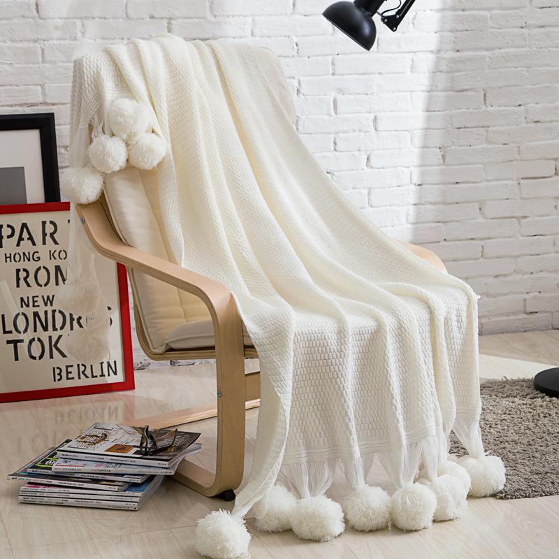 Sofa Knitted Blanket Large White Throw Blanket Warm Soft Fluffy ...
