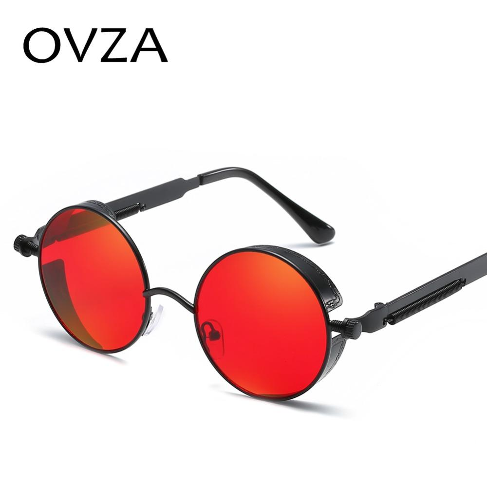 5f081e4a15c OVZA Classic Steampunk Sunglasses Mens Round Retro Sunglasses For Womens  Vintage Punk Mirror Sunglass Metal Spring Leg S5036 Online Eyeglasses  Discount ...