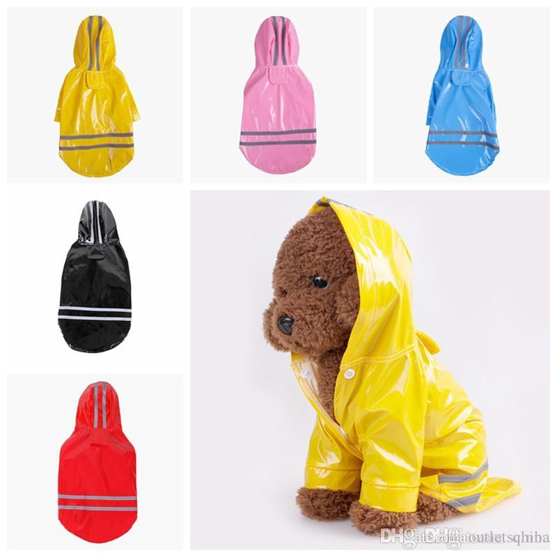 PU Reflective Pet Raincoats Outdoor Jacket Buttons Dog Hooded Rainwear Anti Snow Wind Proof Doggie Reflective Strip Large Pet Trouser Suit