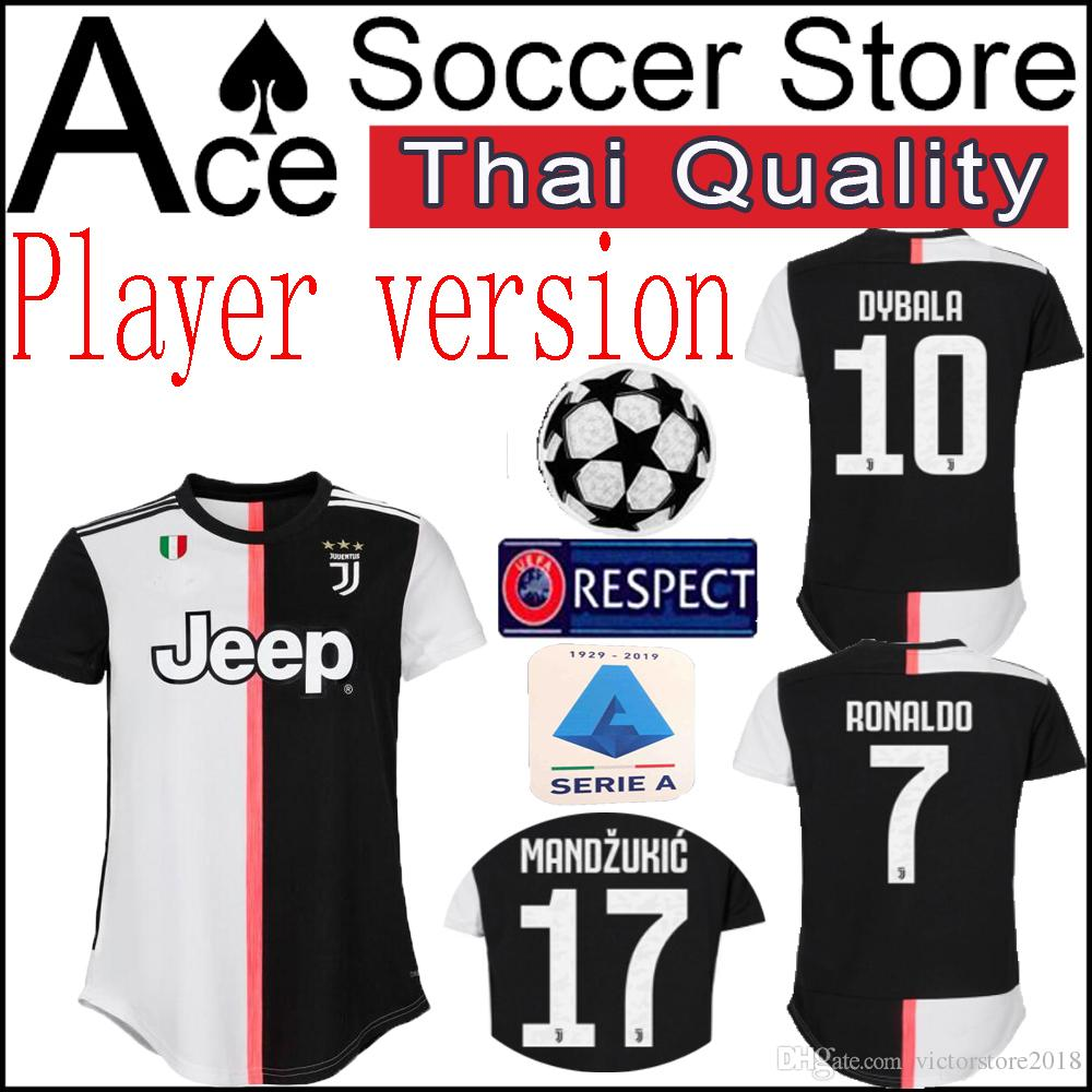 best website 9735e aea88 new Juventus Player version 19 20 soccer Jersey 7 RONALDO 10 DYBALA 14  MATUIDI 17 MANDZUKIC 11 D.COSTA 19 Bonucci Home shirt 2019 2020