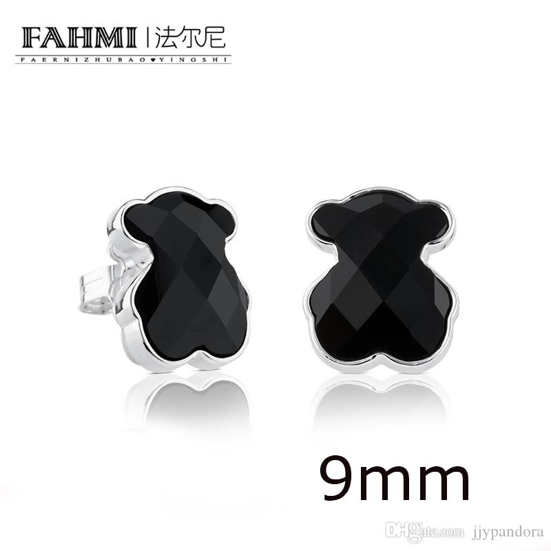 FAHMI 100% 925 Sterling Silber Elegante, freie, schwarze Achat-Ohrringe Sweet Temperament Earrings 715433500
