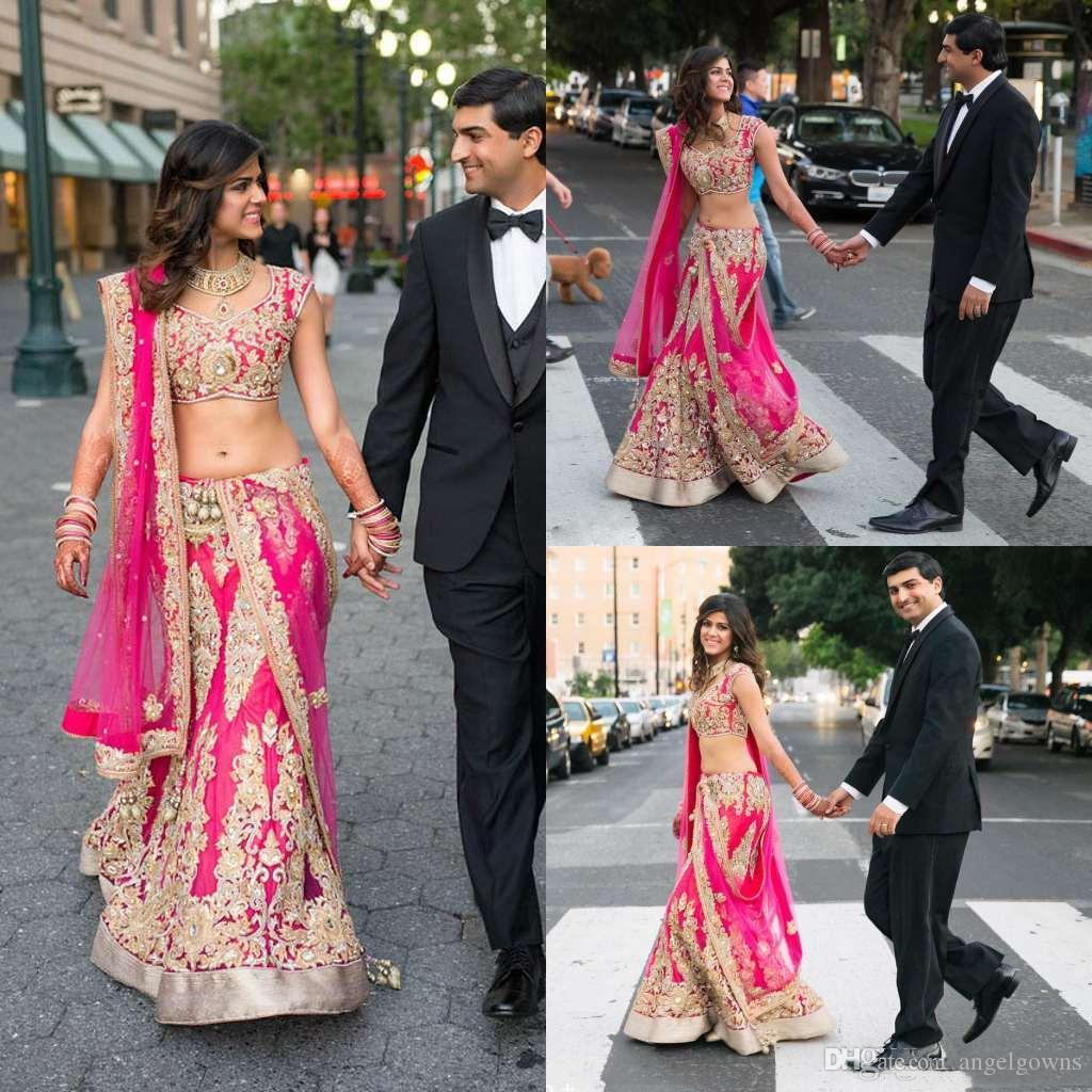 8671ef81e9 Traditional Indian Fuchsia Mermaid Wedding Dresses Two Pieces Gold Lace  Appliqued V Neck Crystal Beaded Bridal Gown Floor Length Bride Dress Red  Wedding ...