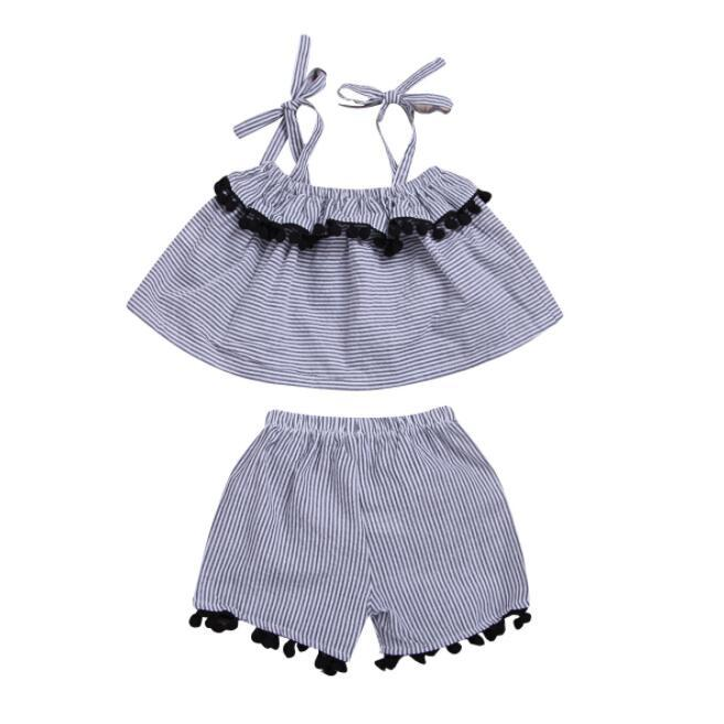 dbd6e2ab7c1 kids designer clothes girls Suit Summer 2019 Two-piece Suit Children Lace  Suspender +Striped Shorts baby girl clothes BY1007