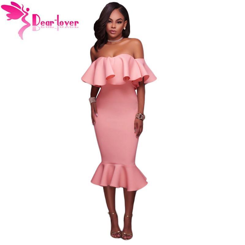 95bd19d6c580d Dear Lover Off Shoulder Party Dresses Summer Clothes Sexy Elegant Pink  Ruffle Mermaid Midi Dress Vestido De Festa Lc61486 J190430