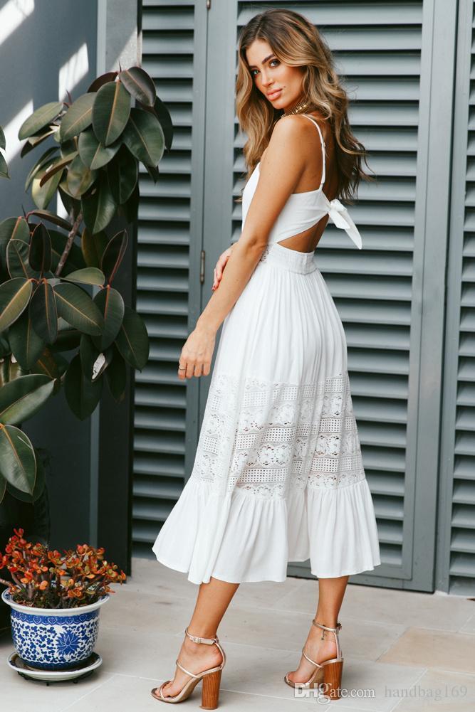 Frauen Art und Weise Kleidungs-Sommer-Spitze-Kleid Weibliche aushöhlen Maxi weißes Kleid lose beiläufige reizvolle Partei-Frauen-Kleid Plus Size