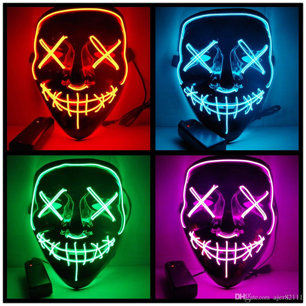 Boys Costume Accessories Halloween Mask Led Masks Glow Scary Mask Light Up Cosplay Mask Glow In Dark For Festival Music Party Costume Christmas Fancy Colours Novelty & Special Use