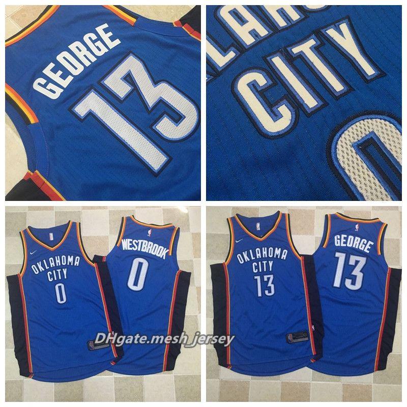 low priced 7fcbd f1bd1 Mens George Authentic Oklahoma City Basketball 13 Paul George Thunder 0  russell westbrook Jerseys Dense AU Mesh Fabric Jerseys Dense Logo