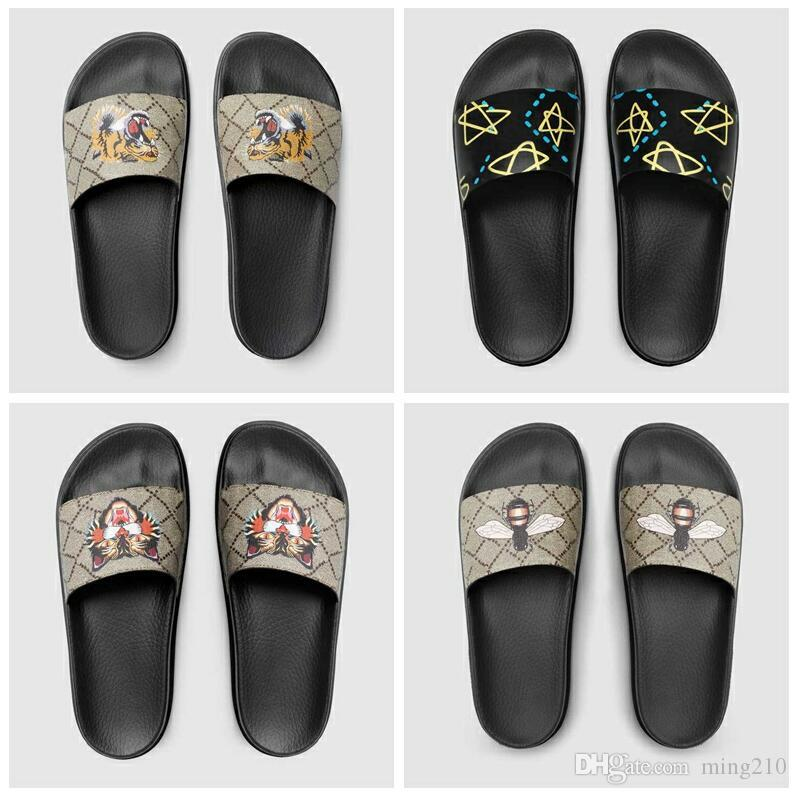 d5599f6d0a4 Men Women Designer Sandals Designer Shoes Luxury Slide Summer Fashion Wide  Flat Slippery Sandals Slipper Flip Flop Flower Box 2019 New Arri Sheepskin  ...
