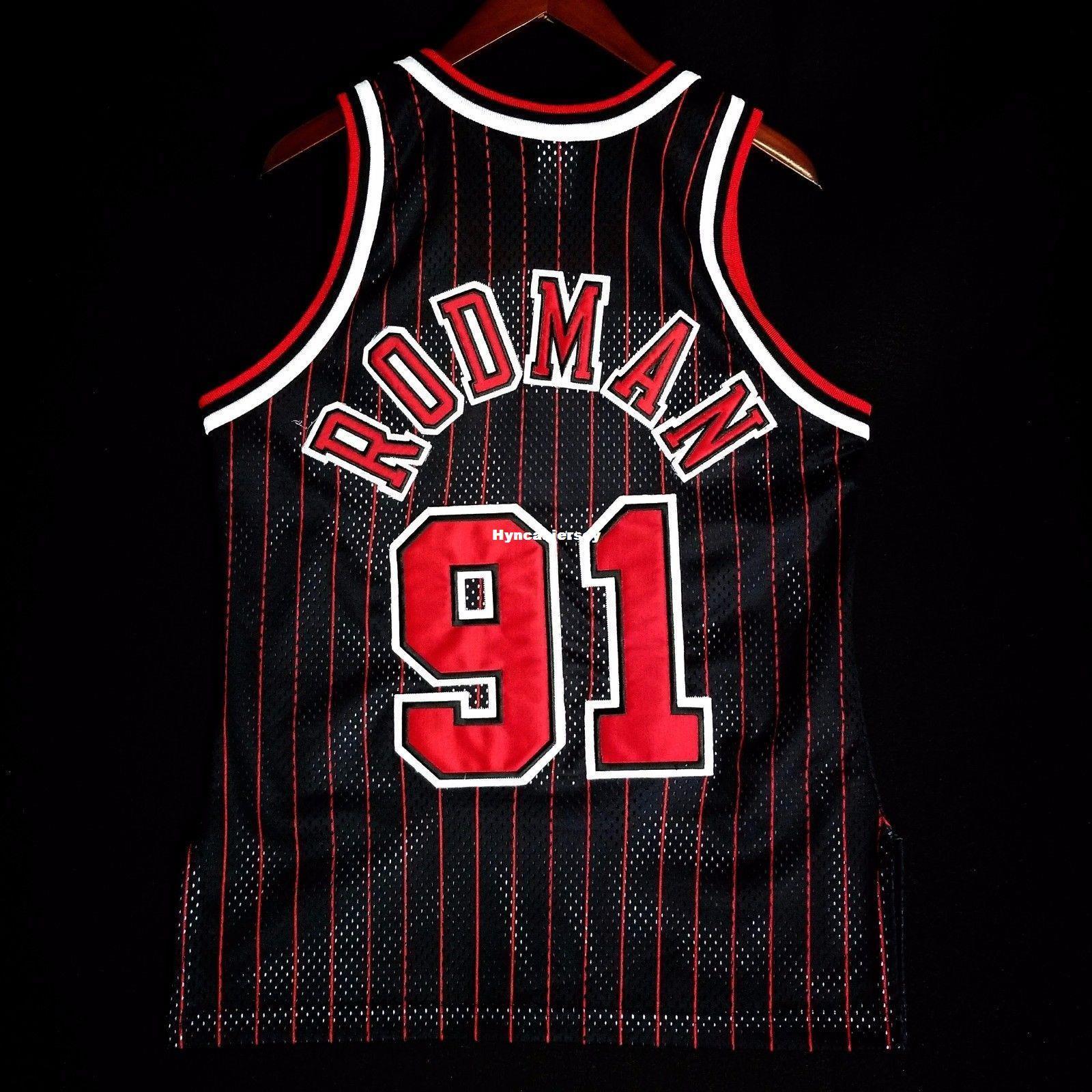 timeless design 03ec4 c0c14 100% Stitched Dennis Rodman #91 Champion Wholesale Pinstripe Jersey Mens  Vest Size XS-6XL Stitched basketball Jerseys Ncaa
