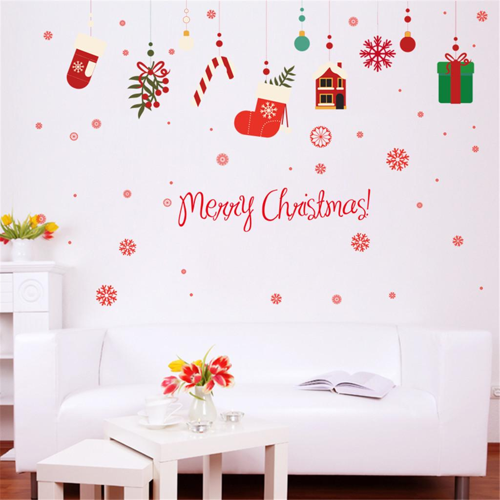 2019 New Fashion Merry Christmas Household Room Wall Sticker Mural Decor Decal Removable Christmas Hang Decoration