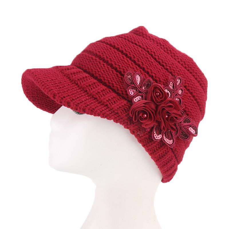 c343baa886b Women Winter Warm Crochet Peaked Beanie Cap Knitted Skull Cap Beret ...