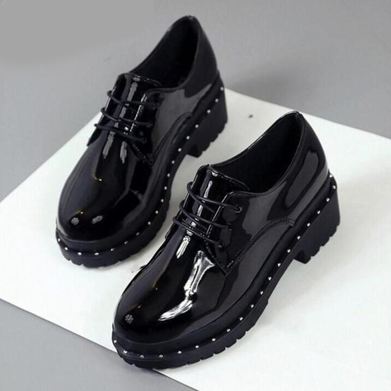 3cb1d822aea Hot Women Classic Patent Leather Lace Up Oxfords Creepers Rivet Female  Platform Shallow Thick Low Heels Ladies Fashion Shoes Red Shoes Mens  Slippers From ...