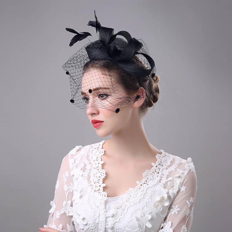 Vintage Mujeres Fascinator Cambric Cocktail Hat Hairband Veiling Headband Lady Wedding Party Tocado Accesorios para el cabello M8694