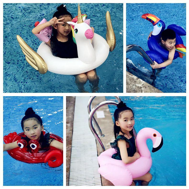 Open Fork Floats Kids Flamingo Float Swimming Ring Baby Life Buoy Crab Unicorn Floating Ring Flamingo Pools Outdoor Play CCA11536 20pcs