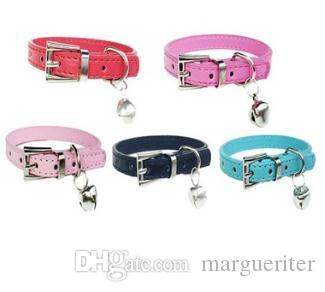 bba67be85 Pet Bell Collar Small Dog Collar PU Leather Kitten Necklace Dog ...