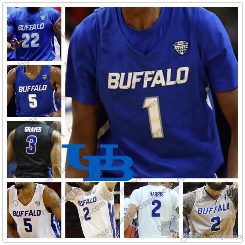 17ce8f9e 2019 2019 NCAA Buffalo Bulls #1 Montell McRae 2 Jeremy Harris 3 Jayvon  Graves 22 Dontay Caruthers College Basketball Blue Gray Black White Jersey  From ...