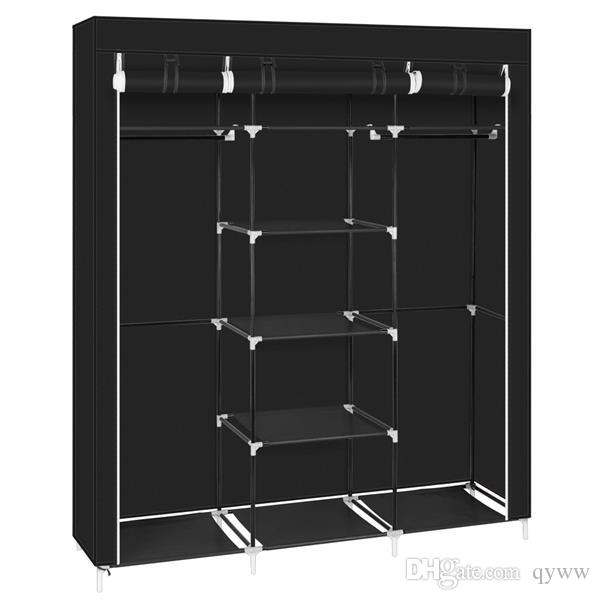 Non-woven wardrobe 5-floor 9 grid 150 / 45 / 175-black.. Movable Improved Clothes Hanging Rod and 9 Storage Shelves Offers You Enough Space