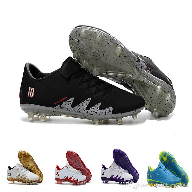 23aa80e61b2 2019 2018 Mens Low Ankle FG Soccer Cleats Hypervenom Phantom III DF Soccer Shoes  Neymar IC Football Boots Cleats Men Football Shoes EUR 40 46 From ...