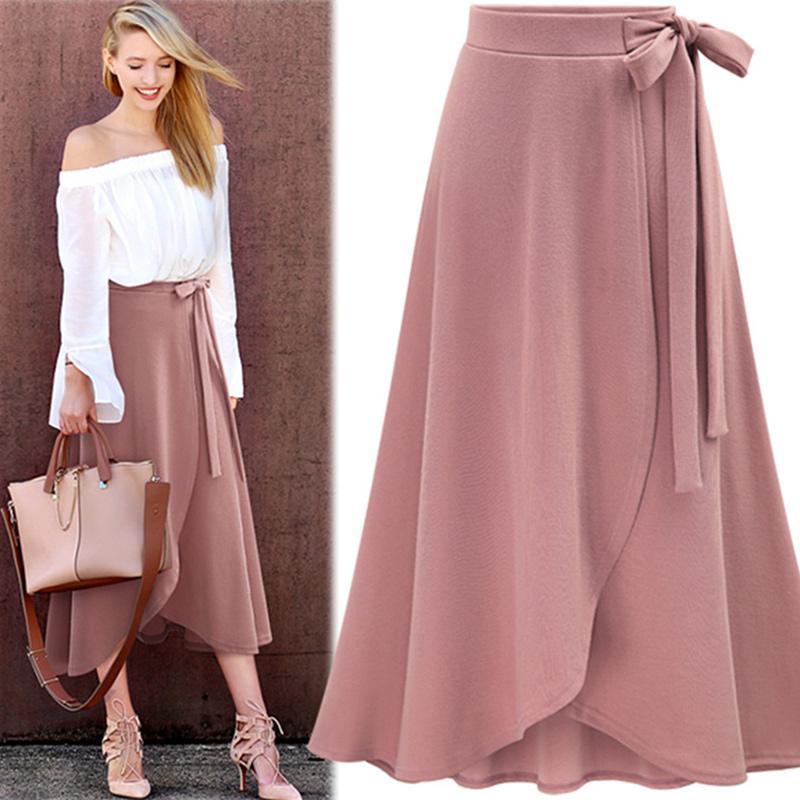 f74144098 Gasa de color rosa con volantes falda larga de las mujeres de cintura alta  Bowtie Dividir irregular maxi faldas para mujer Primavera Invierno Ropa de  ...