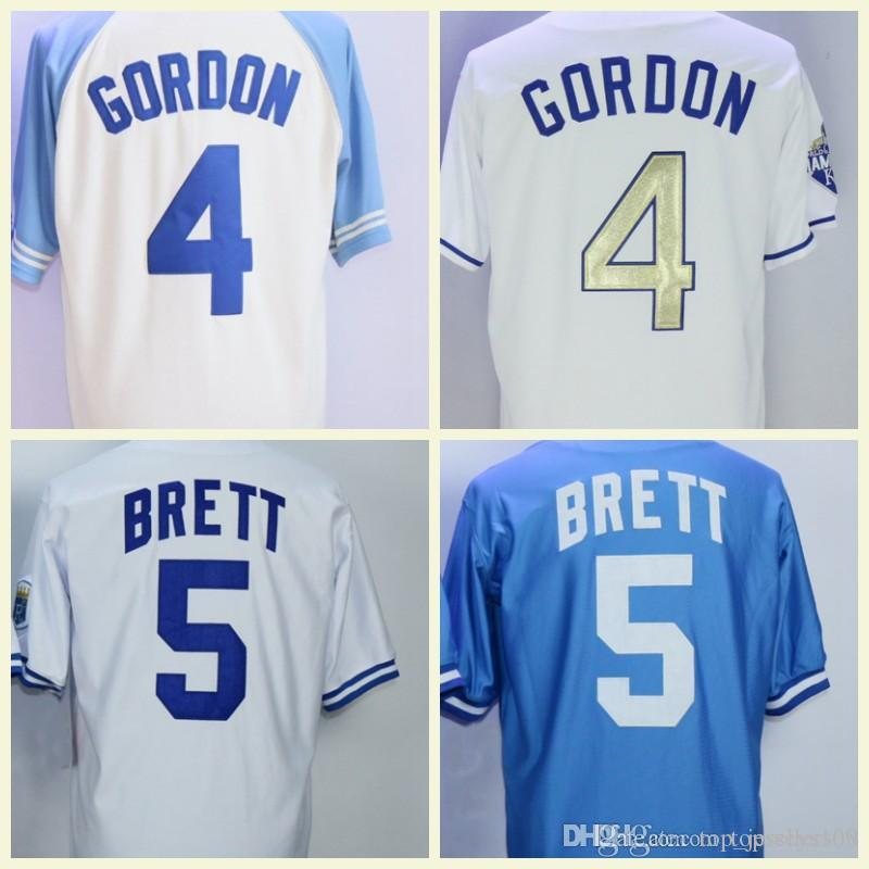 brand new d4210 15253 Men's Baseball Jerseys 5 George Brett Fashion 4 Alex Gordon Jersey White  Blue Grey Size M-XXXL Men polo shirt