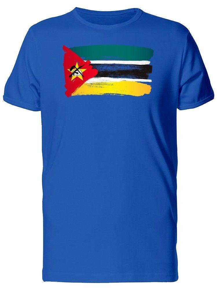 0e4b541315 Compre Tinta Da Bandeira De Moçambique T Dos Homens Camiseta Homens Menino  Impressão Da Tela De Manga Curta Crewneck Algodão Tamanho Grande Equipe T  Camisas ...