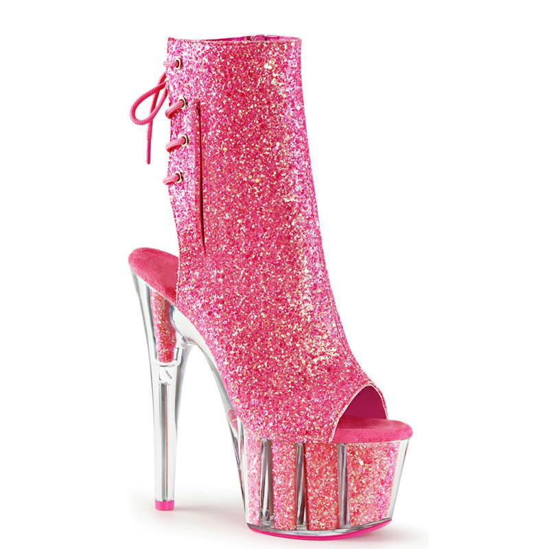 87cb4105347 Ladies ankle boots shine 15 cm high heels stripper platform shoes with  clear heels and zip strap ankle boots