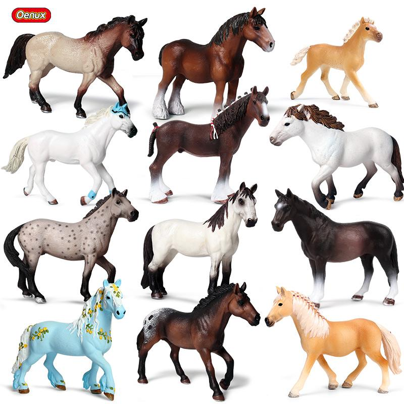 heap Action & Toy Figures Oenux Original Forest Wild Steed Farm Animal Horse Model Action Figures Classic American Clydesdale Horse P...
